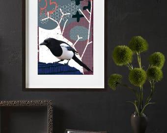 Magpie bird poster-poster