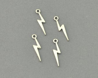 Antique Silver Tone Lightning Bolt Charm (AS00-0021)