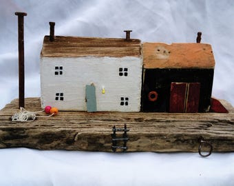 Sea View Harbour.Driftwood,Cottage.Hand painted.House.Theme.FLOTSAM SOUP STUDIO