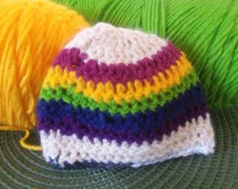 Preemie Sized Beanie, Rainbow Beanie For Baby/ Handmade Crochet Hat
