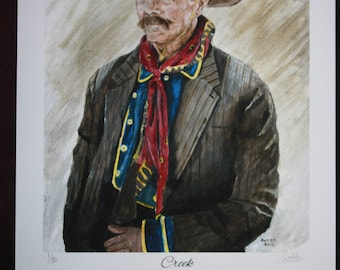 """Turkey Creek Jack Johnson from Tombstone, Signed and Numbered Giclee Print on Acid Free Paper by Cindy Sutter, Entitled """"Creek"""""""