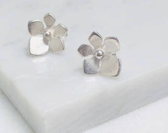 Boho silver flower earrings