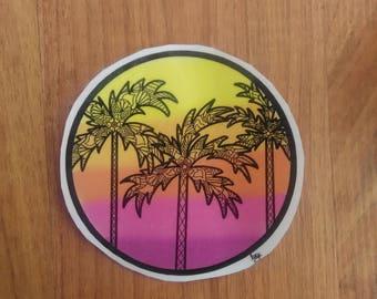 Palm Tree/Sunset Sticker