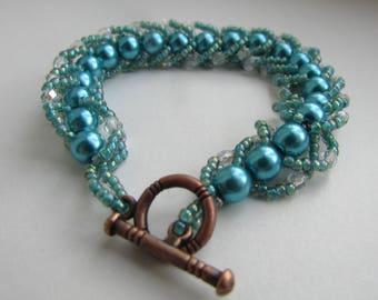 Turquoise Flat Spiral Weave Bracelet