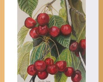 Pastel painting, Kirschast, framed image, fruit picture, cherry painting, wall decoration