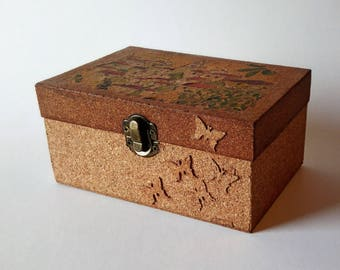Wooden Box Lined with Cork