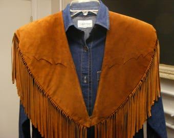 Western leather fringe collar