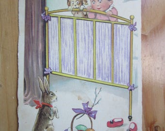 Happy EASTER  Greeting  Postcard with Kid and Bunny