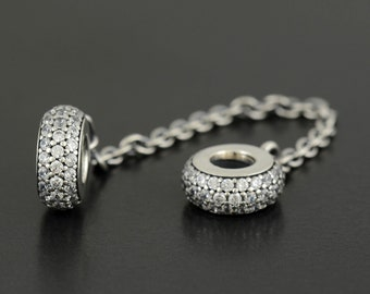 Authentic Pandora Clear Inspiration Safety Chain Pave 791736CZ