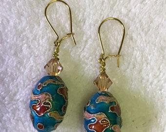 Cloisonné beaded pierced earrings