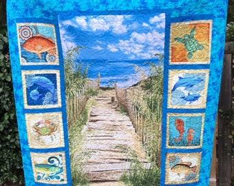 Beach quilt, quilts, sea life quilt, blue quilts, ocean quilts, handmade quilts