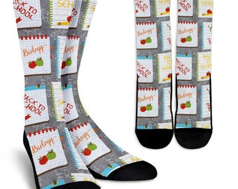 Back to School Socks 2, Custom Printed Socks, Novelty Socks, Cute Socks