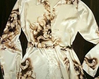 Digital satin long sleeve blouse