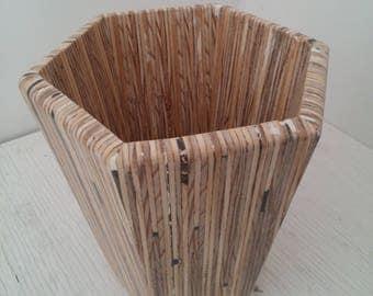 Hexagonal wooden shell
