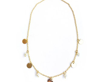 Necklace basic circles and pearls