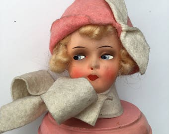 Vintage 1920's doll head hat stand
