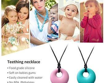 Teething Relief Silicone Pendant Necklace for Mothers