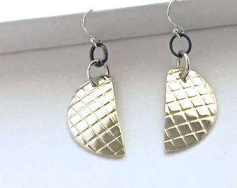 Half Moons // Designer Jewelry Earrings //  Silver