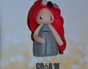 Poppet with polymer clay silver dress, red hair - Collection bridesmaid jewelry - jewelry handmade