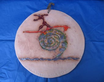 Wall Art - Monster Wave Surfer - Terracotta Wall Hanging Tablet Original Scored and Fired with Fritt Glass Infill.