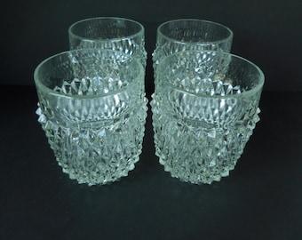 Vintage Indiana Glasses Diamond Point 8 oz Set of Four
