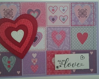 Patchwork quilt style Valentine's card, For Him, For Her, Love, Hearts.