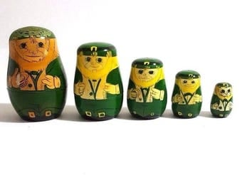 5 Piece Wooden Matryoshka Nesting Dolls Luck of the Irish Men