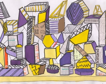 mixed media yellow and purple collage a4 photographic print