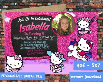 Hello Kitty,Hello Kitty Invite,Hello Kitty Birthday,Hello Kitty Party,hello kitty Birthday Party,Kitty Invitation,Kitty Printable-SL447