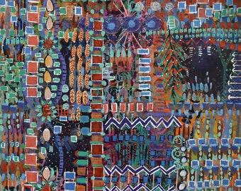 Mixed Media, Acrylic, painting, original, abstract, symbols, marks