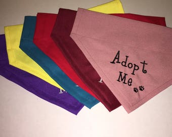 Dog Bandana, Adopt Me, paws, Personalized, Embroidery, Over the Collar, Scarf, (one), dog lovers gift, Adopting a new puppy,   dog gift