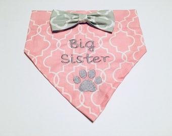 Big Sister, Dog Bandana, Gender Reveal, pink, Monogram, Quatrefoil, Over the Collar, Dog Lovers Gift, Birthday Present, Photo Shoot