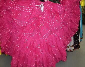 Fushia Jaipur 25Yard Tribal Gypsy ATS Skirt~