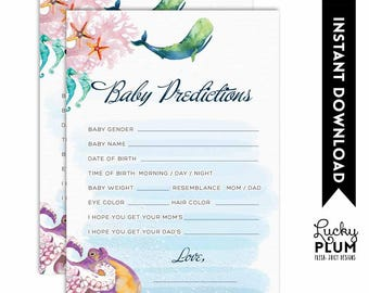 Whale Baby Prediction / Nautical Baby Prediction / Whale Baby Games / Ocean Starfish Anchor Baby Wishes / DIY Printable WH02