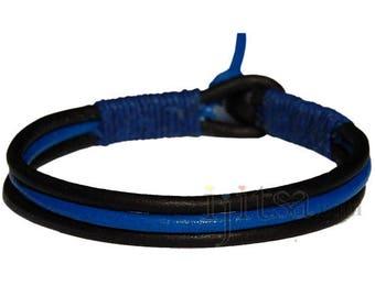 3-Strand black and light blue leather with dark blue hemp bracelet or anklet