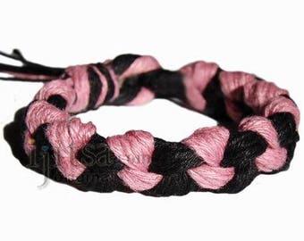 Wide black and pink hemp chain bracelet or anklet