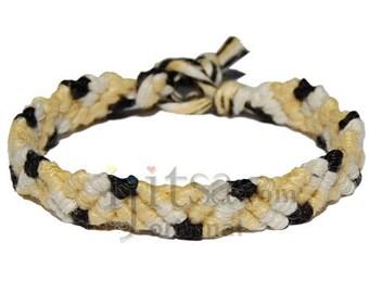 Dijon, pearl and licorice hemp Snake bracelet or anklet