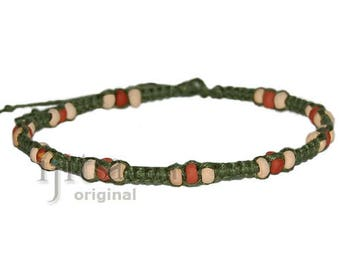 Avocado Flat Hemp with Ceramic Beads Surfer Style Choker Necklace