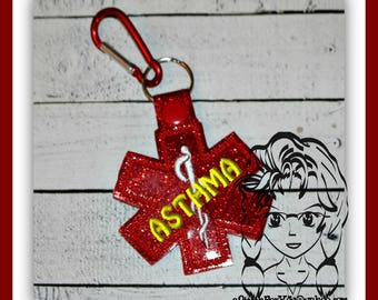 MeDICAL ASTHMA Alert Key FOB Key Ring Snap Tab ~ In the Hoop ~ Downloadable DiGiTaL Machine Embroidery Design by Carrie