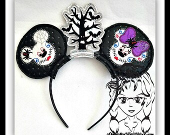 SuGAR SKuLLS SPooKY Inspired (3 Piece) Mr Miss Mouse Ears Headband ~ In the Hoop ~ Downloadable DiGiTaL Machine Emb Design by Carrie