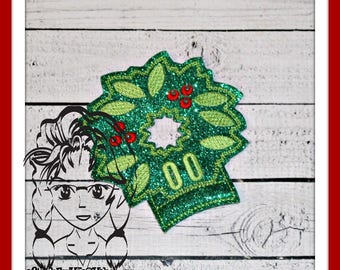 WReATH CHRiSTMAS Ear (Add On ~ 1 Pc) Mr Miss Mouse Ears Headband ~ In the Hoop ~ Downloadable DiGiTaL Machine Embroidery Design by Carrie