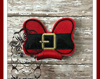 BOW SaNTA BeLT Center (Add On ~ 1 Pc) Mr Miss Mouse Ears Headband ~ In the Hoop ~ Downloadable DiGiTaL Machine Embroidery Design by Carrie
