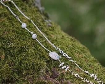 Raw gemstone necklace, Stone Necklace women, Beach Stone Necklace, Gemstone pendant necklace, Bohemian necklaces women, Gemstone jewelry