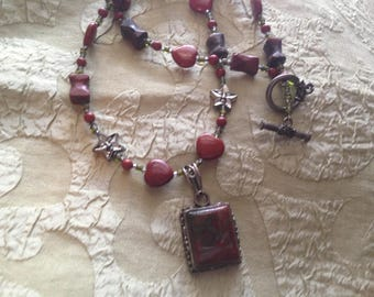 """Red Jasper Silver Pendant Necklace Toggle Clasp Handmade 20 Inches """"Firelight Melody"""""""