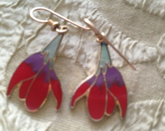 Laurel Burch FREESIA Flowers Cloisonne Earrings French Ear Wires RARE Vintage Jewelry 1980s Red Purple Green Gold