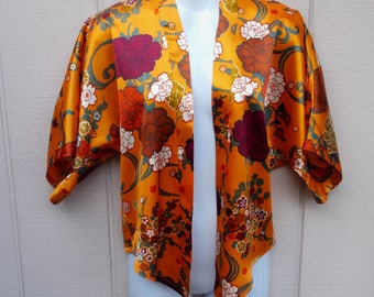 Vintage 70s Orange Asian Floral Open front Jacket / long bolero Boho hippie blouse