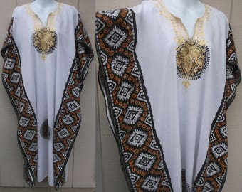Vintage 70s Embroidered Caftan Dress w/ Ethnic African Print / Tent boho hippie Lounge Robe // Sml Med Lge XL