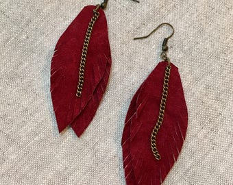 Recycled Leather Feather Earrings -Wine Suede