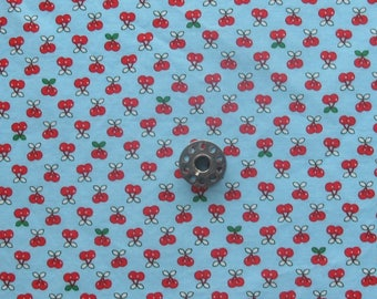 FAT EIGHTH Tiny Happy Lucky Cherries on Turquoise | Small scale cherry print quilting cotton fabric by Cynthia Frenette for Robert Kaufman