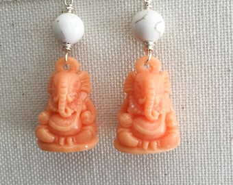 Soft Shell - Peach Ganesha Drop Earrings